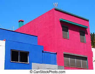 angulaire, maisons, rose, espagne, béton, bleu, moderne, ...
