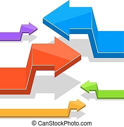 Angular 3D arrows vector flat design template.