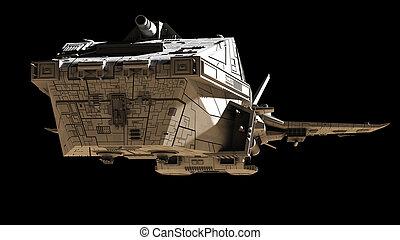 angular, interplanetario, -, ficción, ciencia, frente, nave ...