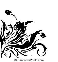 Decorative, it is black a white pattern with the image of flowers, leaves and curls
