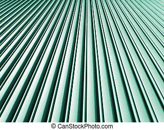 Angular view of metal garage