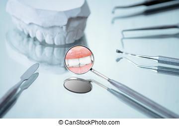 angular, yeso, reflexión, instrumentos, dental, dentaduras, espejo, sonrisa