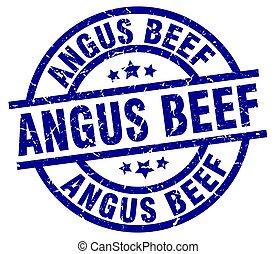angus beef blue round grunge stamp
