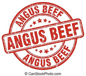 angus beef red grunge round vintage rubber stamp