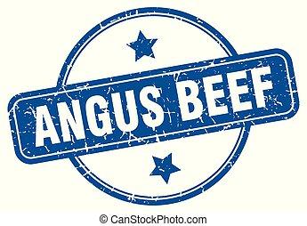 angus beef round grunge isolated stamp