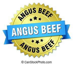 angus beef round isolated gold badge