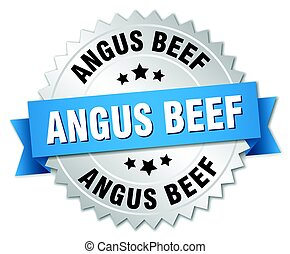 angus beef round isolated silver badge