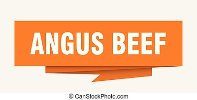 angus beef sign. angus beef paper origami speech bubble. ...