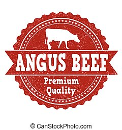 Angus beef grunge rubber stamp on white background, vector illustration