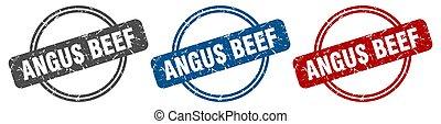 angus beef stamp. angus beef sign. angus beef label set