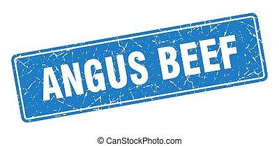 angus beef stamp. angus beef vintage blue label. Sign