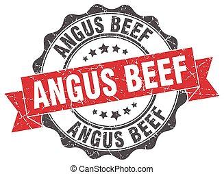 angus, signe., stamp., boeuf, cachet