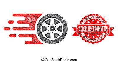 angustia, bolide, coche, color, red, icono, estampilla, discriminación, rueda