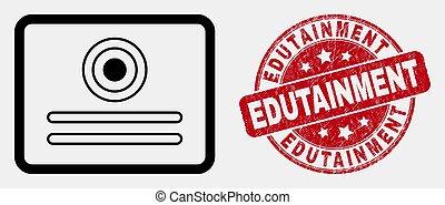 angustia, certificado, estampilla, golpe, vector, sello, icono, edutainment