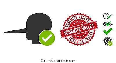 angustia, yosemite, estampilla, mentiroso, valle, icono, ...