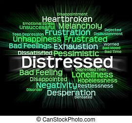 angustioso, palabra, afligido, wordcloud, desesperado, exposiciones