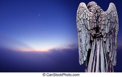 angyal, felett, ég, sötét, körképszerű, farag, kilátás