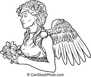 angyal, nő, stylised, ábra