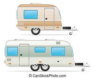 anhængeren, karavane, vektor, illustration