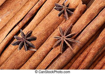 anice and cinnamon macro background - anice and cinnamon...