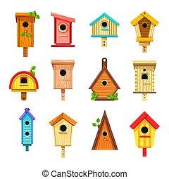 anidar, cajas, o, árbol, aislado, birdhouses, edificios, iconos
