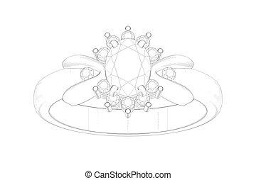 anillo, belleza, boda