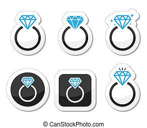anillo, compromiso, boda, diamante