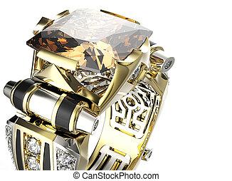 anillo, con, coñac, diamond., joyas, plano de fondo