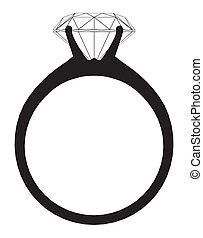 anillo, con, diamante