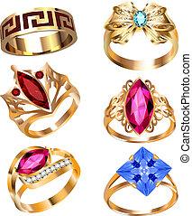 anillo, conjunto, con, piedras preciosas, blanco