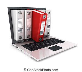 anillo de la carpeta, computador portatil, dentro, 3d