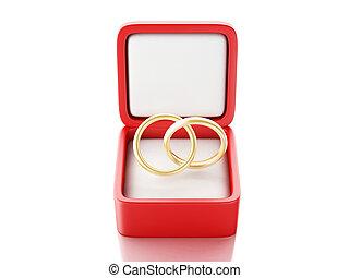 anillo del oro, en, un, caja obsequio