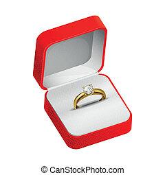 anillo del oro, en, un, caja roja