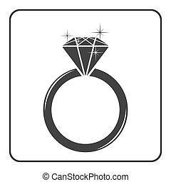 anillo, diamante, compromiso, 3, icono
