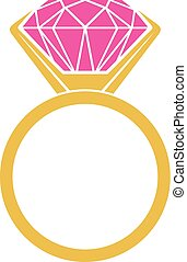 anillo, diamante, icono
