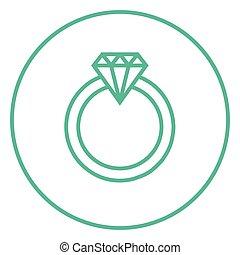 anillo, diamante, línea, icon.