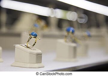 anillo, en la exhibición, en, store.