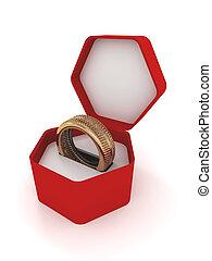 anillo, neumático, en, un, caja