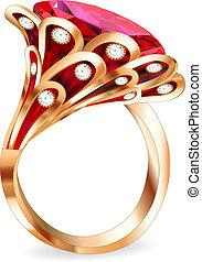 anillo, pedazo, rubí, joyas, rojo