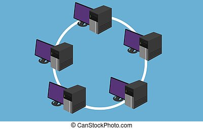 anillo, red, topology, lan, diseño, establecimiento de una red, hardware, conectado