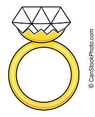 anillo, vector, -, caricatura, diamante