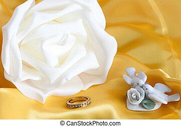 anillo, y, boda, favores