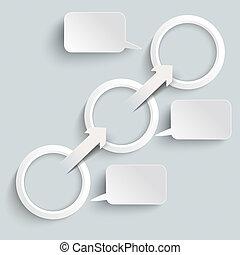 anillos, 3, papel, discurso, flecha, burbujas