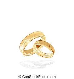 anillos, aislado, oro, boda