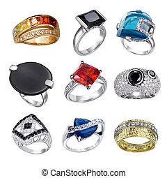anillos, con, piedras preciosas, aislado, blanco, plano de...