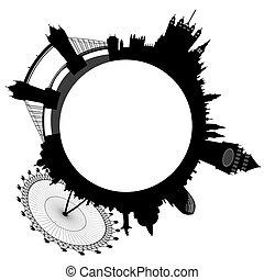 anillos, contorno, vector, -, londres