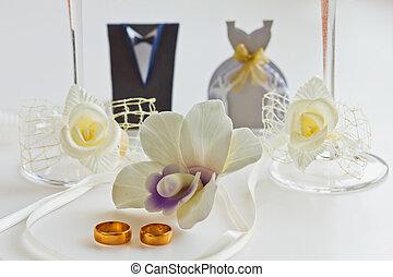 anillos, dos, plano de fondo, boda, blanco, orquídeas