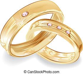 anillos, oro, boda
