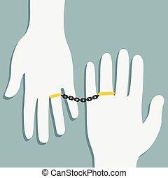 anillos, oro, cadena
