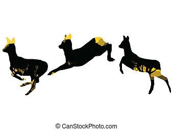 animální, druh, abstraktní, jelen, ilustrace, srna, ...